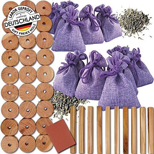 Teneola 56 x Lavendel + Zedernholz gegen Motten 10 Lavendelsäckchen Mottenschutz mit geprüftem Lavendel aus der Provence und Amerikanische Zeder ideal für Kleiderschrank