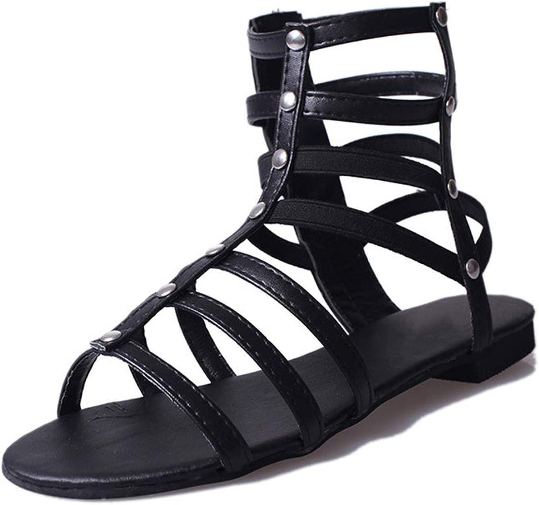 Skr Wu Summer Women's Rivet Side Zip Roman Sandals Women Fashion Hollow shoes