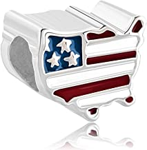 CoolJewelry Sterling Silver Patriotic Proud To Be American USA Flag Country Of US Map Charms Beads