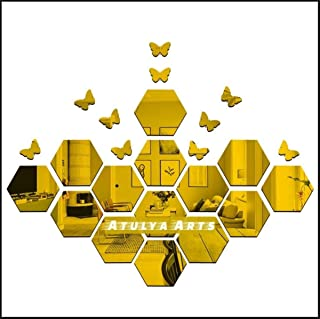 Atulya Arts - 3D Hexagon Acrylic Stickers (Pack of 14) with 10 Butterflies, Acrylic Mirror Wall Stickers for Home & Office...