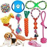 Wimypet Hundespielzeug, Interaktives Spielzeug Seil Langlebig, Kauspielzeug Hund Farben und Formen, Natürlicher Baumwolle Hundeseile Set für die Zahnreinigung Kleine Mittlere Hunde 10 Stück
