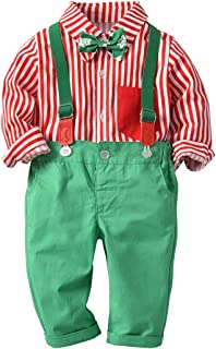Baby Boys Long Sleeve 1st Christmas Dress Tuxedo Bowtie Shirt + Suspenders Pants Gentleman Birthday Outfits Overalls Set