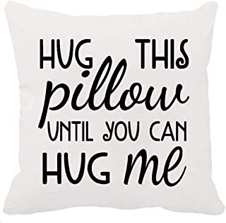 Two Sided Printing Best Lover Couple Sweetheart Present Sweet Sayings Hug This Pillow Until You Can Hug Me New Home Decorative Soft Cotton Throw Cushion Cover Pillow Case Square 18 Inches