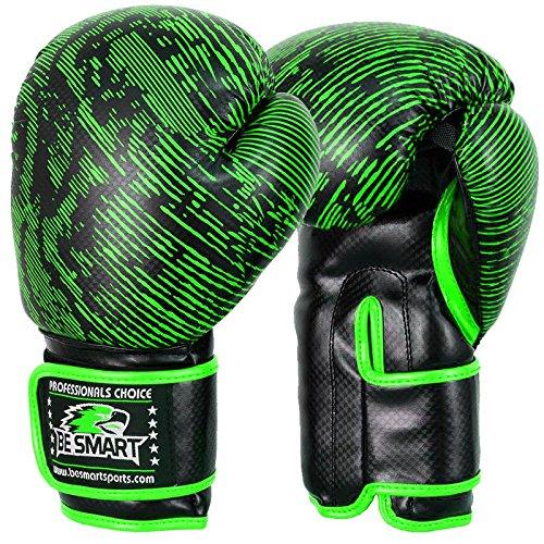 Smart Pro Leder Boxhandschuhe, für MMA, Sparring Boxsack, Muay Thai Trainingshandschuhe, Herren damen Kinder, Green Snake Skin