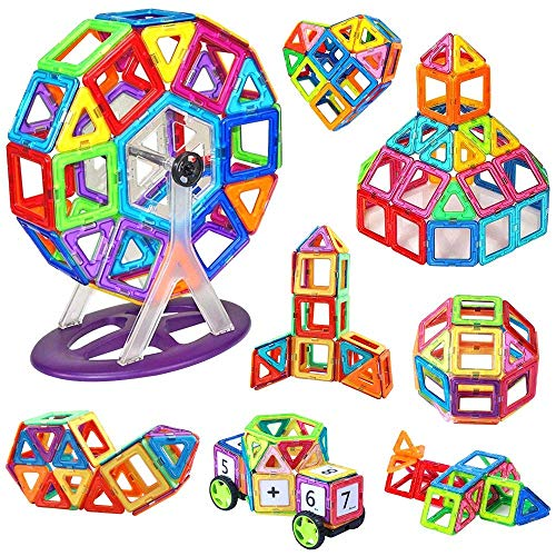iKing マグネットブロック 94PCS 磁石ブロック マグネットおもちゃ 磁気おもちゃ 子供 知育玩具 男の子 女の子 幼児 人気 積み木 立体パズル DIY 観覧車 ロボット 収納ケース付き 出産祝い 入園ギフト クリスマス 誕生日プレゼント 贈り物