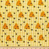 Comfy (R) Flanell-Druck Bienen- und Bienenstöcke, gelb,