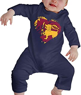 Newborn Baby Boys Girls Bodysuits I Love Sri Lanka Heart Flag Cotton Long Sleeve Climb Romper