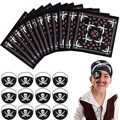 24 Pièces Fournitures de Fête de Pirate Comprendre 12 Patchs pour les Yeux en Feutre de Capitaine de Pirate 12 Accessoires Bandana de Cosplay Pirate pour Ados et Adulte