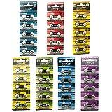 HyperPS (Total 70 pcs) AG0 AG1 AG3 AG4 AG7 AG10 AG13 Alkaline Assorted AG 1.5V Button Cell Battery Single Use Watch Toys Remotes Cameras