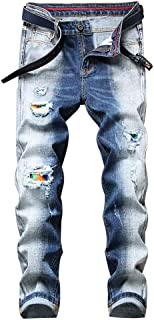 Mens Stretch Distressed Rose Embroidered Skinny Biker Jeans