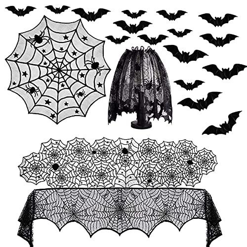 Juego de decoración de Halloween de 5 piezas, mantel rectangular de telaraña, cubierta de mesa redonda de encaje, pantallas de lámpara de Halloween para fiesta de Halloween