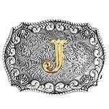 Bai You Mei Estilo occidental vaquero de oro letras iniciales hebilla de cinturón para los hombres...
