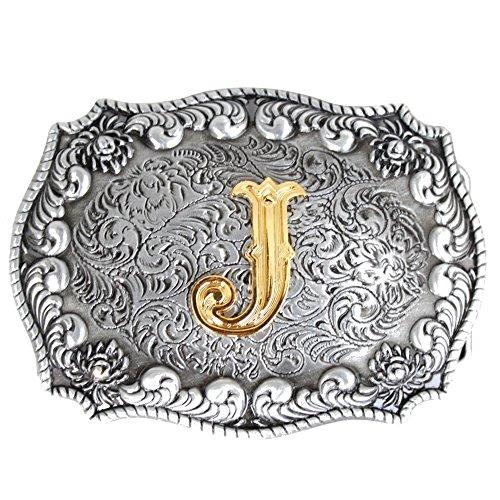 Bai You Mei Estilo occidental vaquero de oro letras iniciales hebilla de cinturón para los hombres J