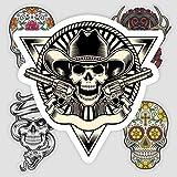 Cráneo, motocicleta, coche, maleta de viaje, portátil, teléfono móvil, guitarra, monopatín, pegatinas impermeables, 9 hojas