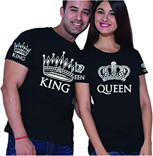 Matching Couple Shirts for him and her King Queen t-Shirts Black