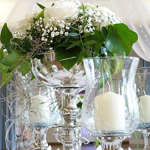 Dekowelten Großer Glasaufsatz Klar/Crackliert Glas Teelichthalter f. Kerzenleuchter Teelichtaufsatz