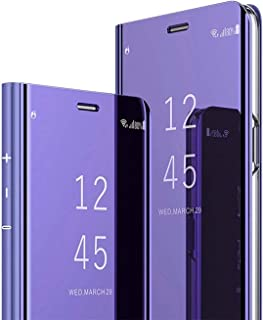 C-Super Mall for Samsung Galaxy A42 5G Case, S-View Flip Cover, Kickstand, Full Body Protection (Violet)