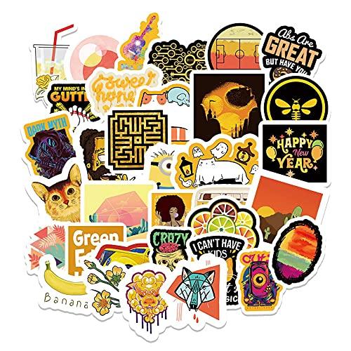WYZNB 66 pegatinas decorativas (estilo amarillo) pequeñas y frescas para scooter, portátil, impermeables, extraíbles, de vinilo, graffiti