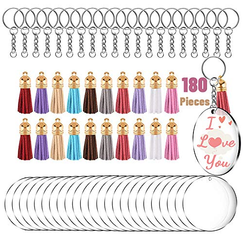 180Pcs Acrylic KeyChain Making Kit with Tassel, 60 Sets Acrylic Transparent Circle Discs and Keychain Rings for Craft, Clear Acrylic Keychain Blanks and Colorful Tassel Pendants for DIY Projects