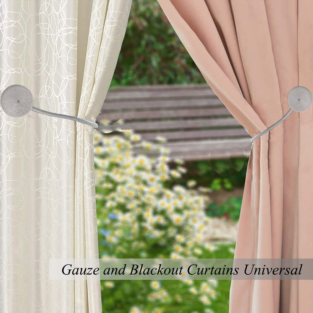 Magnetic Curtain Tiebacks Decorative Drapery Holdbacks, 2 Pack Window Drape Ties, Weave Rope Clips for Blackout/Sheer Window Treatment (Silver-Q): Kitchen & Dining