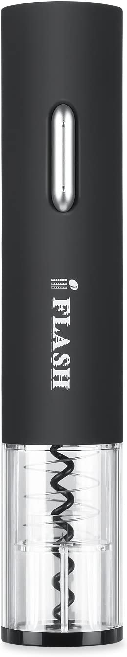 [Electric Automatic Style] iFlash Electric Wine Bottle Opener - Premium Quality Material with Cordless Design - AA Battery Powered - Unique Transparent Shell - Professional Foil Cutter Included -Black