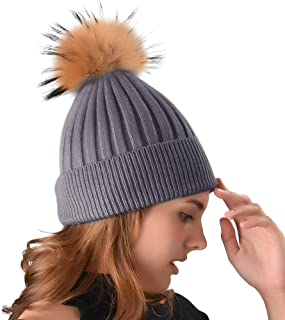 Women Winter Beanie Hat Cashmere Blended Stretchy Cable Cap Knit Beanie Real Fur Pom Pom Hats