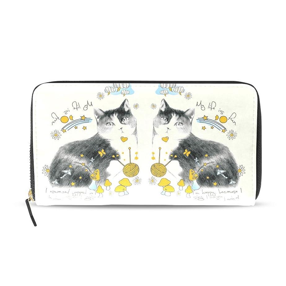 学んだペパーミントレースAOMOKI 財布 長財布 レディース 革財布 カード たくさん入る 収納 大容量 多機能 プレゼント 可愛い 猫ちゃん(Cats)