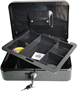 Masmartox Cash Box with Keyed Lock – Durable Metal Cash Box with 5 Money Tray Black,12Inch