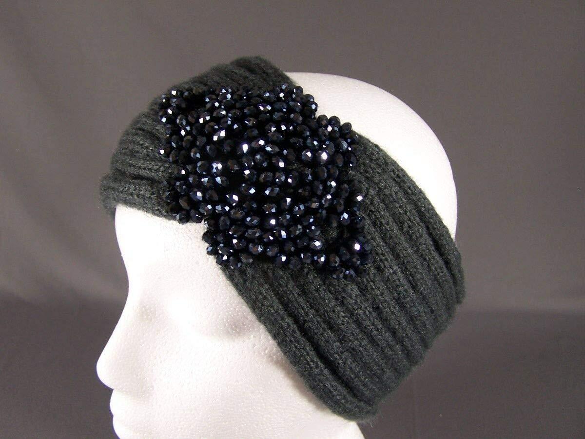 Dk Gray sparkly beaded turban style crochet ear warmer muff head band wrap knit