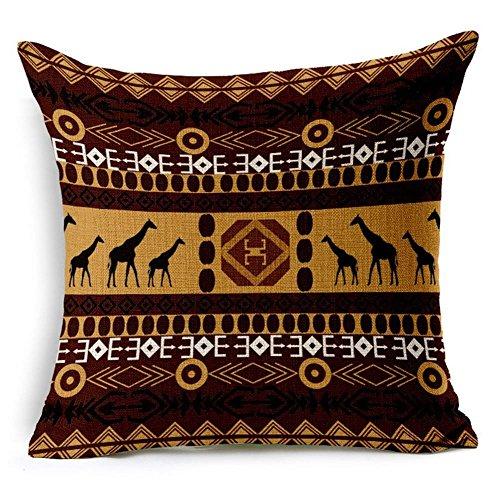 G.T. Kissenbezug aus Baumwollleinen, afrikanischer Ethno-Stil, gestreift, 45,7 x 45,7 cm