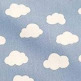 Stoff Meterware Baumwolle hellblau Wolken Himmel weiß