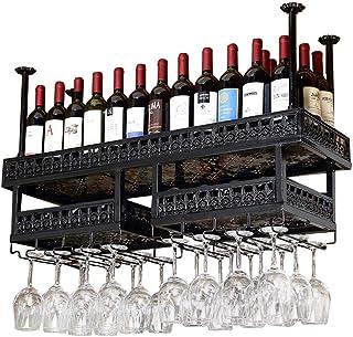 GDSKL Casier À Vin Cuisine Organisation de Rangement de Luxe En Métal Fer Étagère de Rangement de Vin Plafond Mural Suspen...