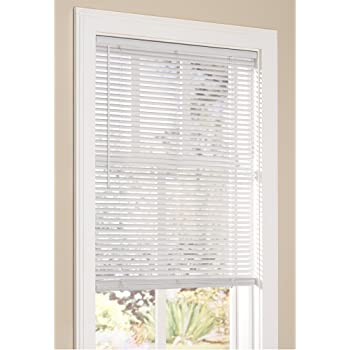 "Lumino Vinyl Mini Blinds 1 Inch Cordless Room Darkening in White - 18"" W x 60"" H (Over 500 Add'l Custom Sizes) - Starting at $9.97"