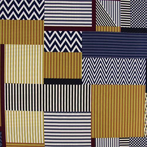 Mooi leven. Bekleding stof Crêpe patchwork-look strepen zigzag doos wit blauw olijfgroen rood 1,5 m breedte