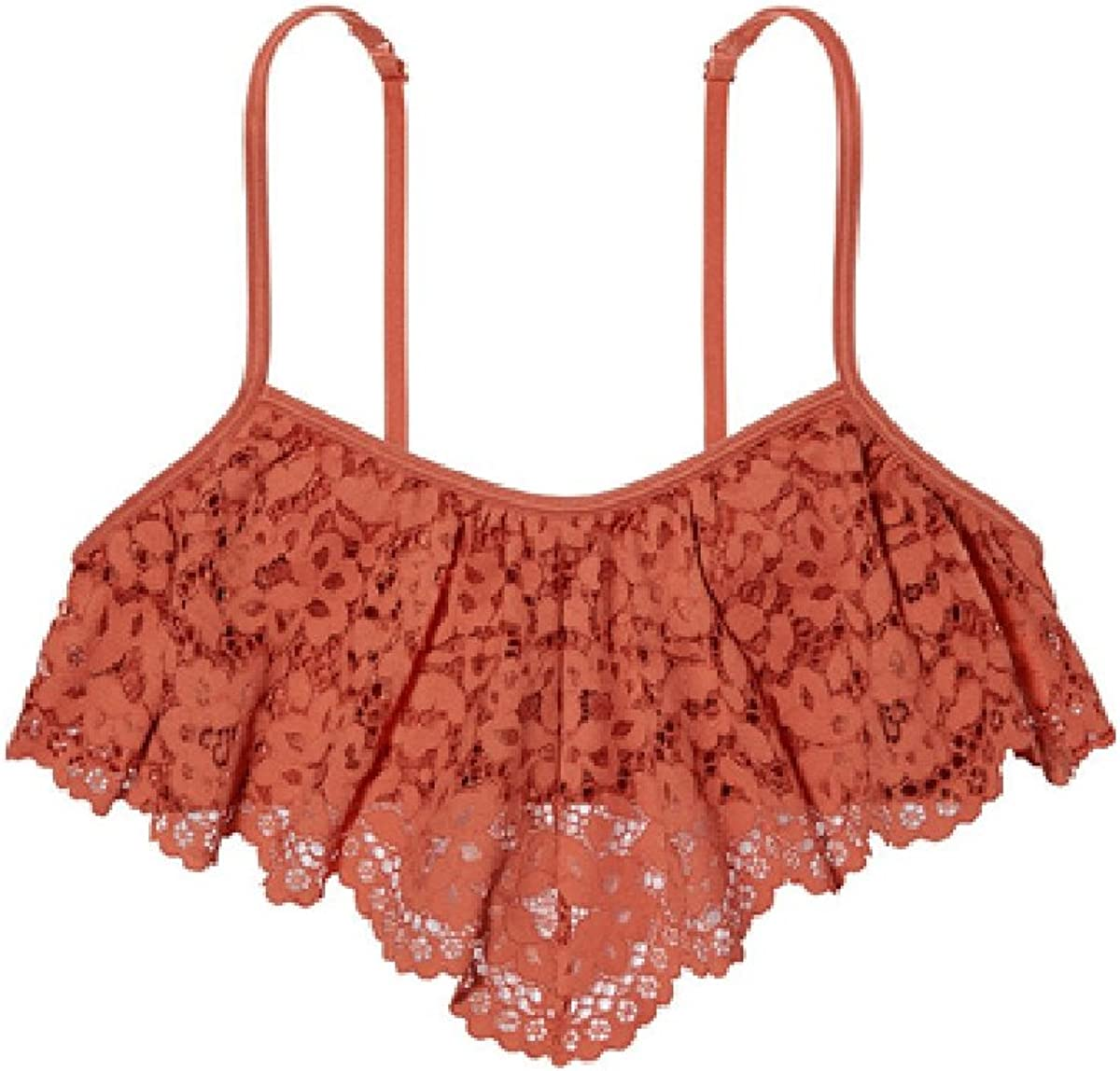 Victoria's Secret Crochet Lace Flutter Bandeau Flounce Bralette Ginger Glaze Size M Brown