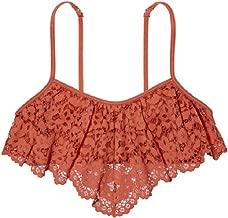 Victoria's Secret Crochet Lace Flutter Bandeau Flounce Bralette Ginger Glaze Size M
