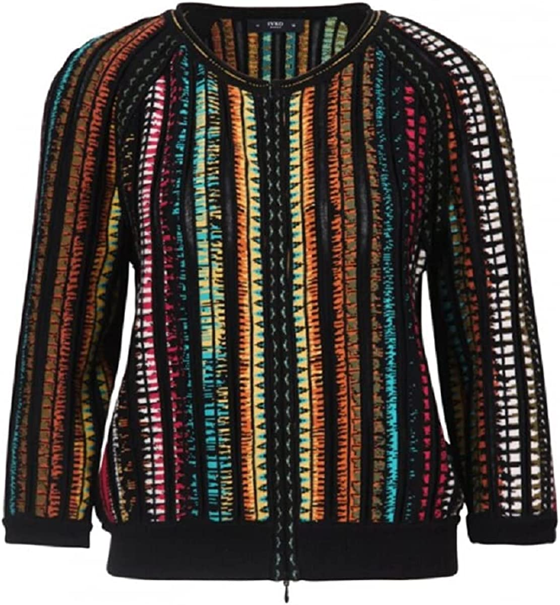 IVKO Crew Neck Bomber Jacket Dancing Colors in Black Cotton Double-Sided Zipper Zip Up 3/4 Sleeve Sweater Jumper Cardigan (US, Numeric_8)
