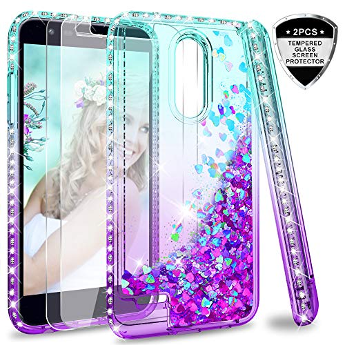 LG K20 V Case,LG K20 Plus/Harmony Case with Tempered Glass Screen Protector [2 Pack] for Girls Women,LeYi Glitter Diamond Liquid Quicksand Flowing Protective Phone Case for LG K10 2017 Teal/Purple