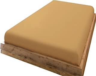 ボックスシーツ シングル マットレスカバー 綿100% マチ部分約35cm 全周ゴム付き ベッドシーツ ベットカバー 洋式・和式兼用 毛玉なし 着脱簡単 抗菌防臭 防ダニ (ダークベージュ、100X200x35cm)