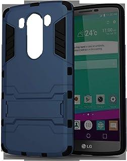 جراب هاتف LG V10 Iorn Man Hard PC + بطانة مطاطية ناعمة ومسند جراب مقاوم للصدمات - أزرق داكن