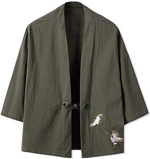 Cotone Lino Haori V Bavero del Cappotto Kimono Manica Abbigliamento Lunga Vintage Tinta Unita Ricamo Locker Outwear Il Cap...