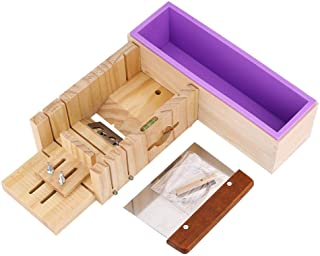 Molde de silicona de jabón, molde de cortador de pan de molde de jabón de madera ajustable hecho a mano con caja de madera, cuchillo recto de molde de jabón de silicona y dispensador de jabón de pino
