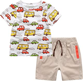 Mud Kingdom Little Boys Outfits Summer Cute Cartoon Cars