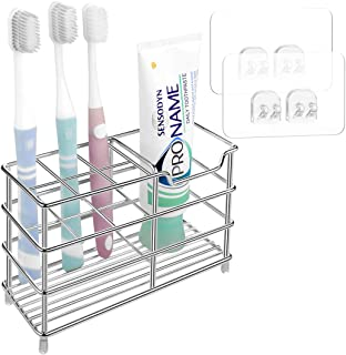 Linkidea Toothbrush Holder Wall Mounted Stainless Steel Bathroom Storage Organizer Stand Rack Wall Mount Multifunctional 7...