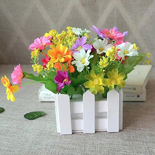 Flikool Artificielle Plantes Potted Plant Faux Artificiel Fleur Chrysantheme Truque Bonsai L'herbe Verte Simulation Verdure Arbre avec Cloture 10*10*17cm - Mix