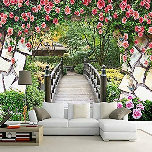 XHXI Mural Wallpaper Flower Vine Wooden Bridge Brick Wall Landscape Painting 3D Photo Background Living Room Decoration 3D Wallpaper Paste Living Room The Wall for Bedroom Mural border-150cm×105cm