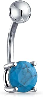 Bling Jewelry Opalite e Creato Turchese Solitaire Navel Bar Belly Ring per Le Donne Teen Silver Tone invisiosa Acciaio 14 ...