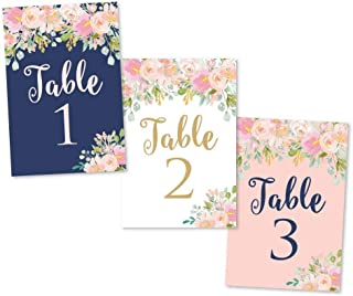 1-25 Navy Blush Floral Table Number Double Sided Signs For Wedding Reception, Restaurant, Birthday Event, Calligraphy Printed Numbered Card Centerpiece Decoration Setting Reusable Frame Stand 4x6 Size