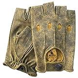 Prime Leather Prime – 309- Guanti da Guida da Uomo in Vera Pelle,per Motocicletta, Ciclismo, Sport all'aperto, Lavoro, Campeggio, Escursionismo, Auto dal Designer Stile Classico Retro Mezze Dita
