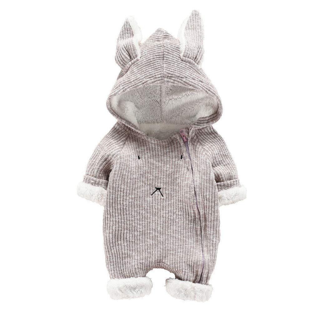 Gornorriss Baby Rompers Newborn Boy Girl Cartoon 3D Bunny Ear Hooded Jumpsuit Clothes
